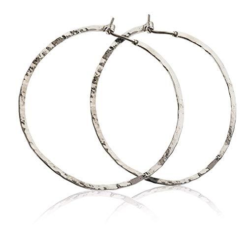 Sterling Silber Creolen Ohrringe damen 50mm Runde Creolen für Frauen