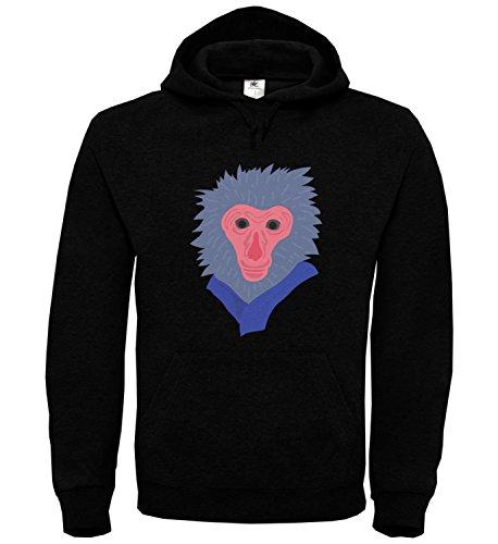 unny monkey monkey with blue scarf Black Unisex Hoodie Kapuzen Kapuzenpullover Damen Herren Pullie Sweater Hoody Birthday Gift Wear Men's Women's Unisex SM Hoodie (Cute Monkey Tattoos)