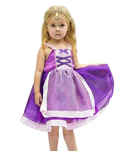 Snow Kid Kostüm White - Bobopai Baby Girls Princess Snow White Costume Fancy Fairy Dressing Up Cosplay Dress with Headwear (D35-purple)
