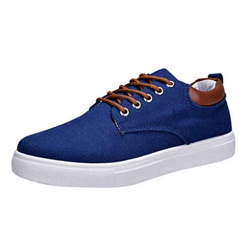 FNKDOR Schuhe Herren Teenager Koreanisch Turnschuhe Student Canvas Sneaker Einfarbig Schnürsenkel Low-Top Männer Segeltuchschuhe Blau 44 EU - Schuhe Rot Dc-high-tops