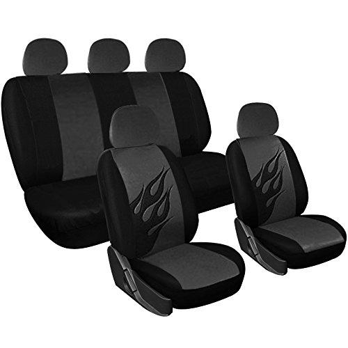 Woltu 7221-b Coprisedile Completo Seat Cover Auto Poliestere Universale Fiamma Nero/Grigio