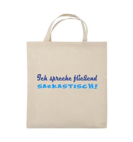 Comedy Bags - Ich spreche fließend Sarkastisch! - Jutebeutel - kurze Henkel - 38x42cm - Farbe: Schwarz / Weiss-Neongrün Natural / Royalblau-Hellblau