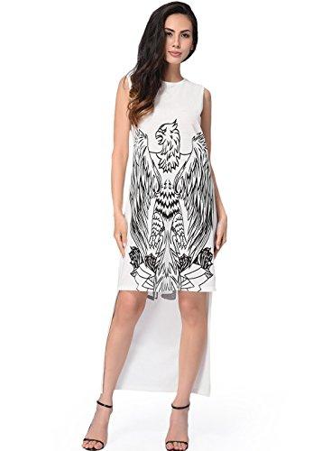 Frauen-Sommer-Sleeveless beiläufiges lose unregelmäßiges T-Shirt Kleid Weiß