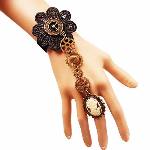 Z&HA Women es Braided Ring Armband/Slave Armband-Blume, Gear, Skull, Vintage, Steampunk Armband Black for Carnival Masquerade,S357