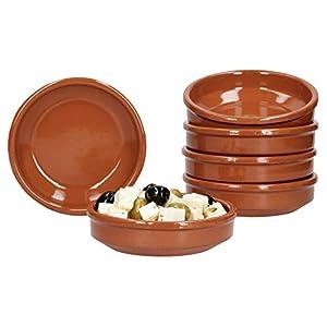 MamboCat 6er-Set | Tonschalen Cazuela | 175 ml | Ø 12 cm | braun | glasiert | antike Servierschalen | Ton-Geschirr für Gastronomie & mediterrane Küche