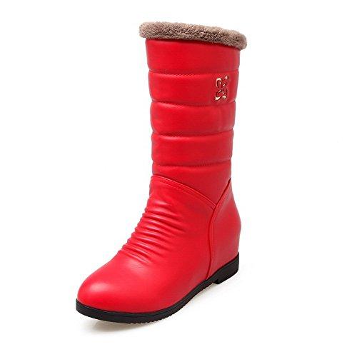 VogueZone009 Femme à Talon Correct Couleur Unie Rond Zip Bottes Rouge