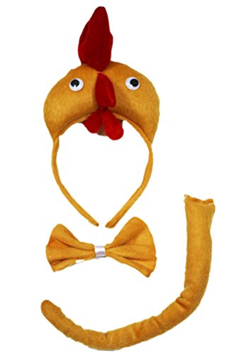 Henne Huhn Stirnband Schleife Schwanz 3-teiliges Kostüm für Kinder Geburtstag oder Party Gr. One Size, - Schule Mädchen 3 Teilig Kostüm