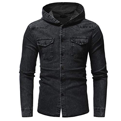 Kanpola Herren Freizeithemd Jeans Hemden Dünne Jacke Langarm T-Shirt mit Kapuze Pullover Sweatshirt Kapuzenpullover Kapuzenjacke Jeanshemd (Schwarz, 46)