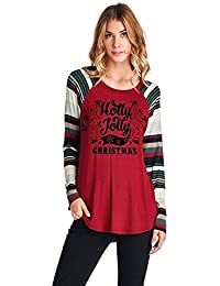 VJGOAL Mujer Otoño E Invierno Moda Casual Carta Navidad Impreso Camiseta Cuello Redondo Manga Larga Empalme Blusa Suelta Tops