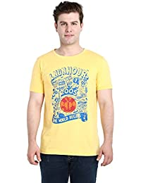 LNDN HOUR Half Sleeves New Divine Stylish Chest Print, Round Neck Cotton Tshirt, Latest High Quality Fashion Garments For Mens / Boys. Yellow Colour