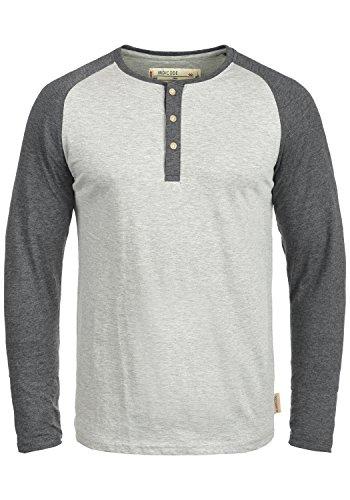 Indicode Winston Herren Longsleeve Langarmshirt Shirt mit Grandad-Ausschnitt, Größe:XL, Farbe:Light Grey Mix (913)