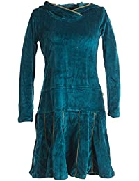 Vishes - Alternative Bekleidung – Samt Minikleid mit Kapuze Cape Kleid