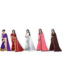Florence Art Silk with Blouse Piece Saree (Pack of 5) (FL-Combo5_17_Multicolour_One Size)