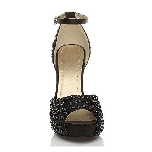 Donna tacco alto ingioiellati nozze sera punta aperta scarpe piattaforma taglia Nero con nero strass
