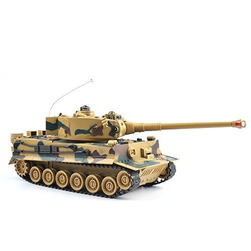 GizmoVine RC Tank Jouet 1/28 Tigre Allemand RC Char Radiocommandé 2.4Ghz Jouet pour Enfants Camouflage
