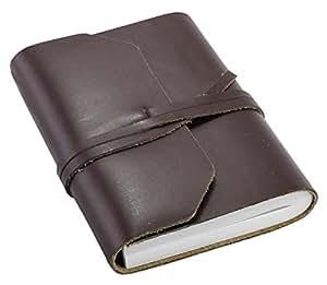 Journal Intime de poche Creoly classique cuir marron avec attache à tête d'équerre, fait main (9cm x 13cm)