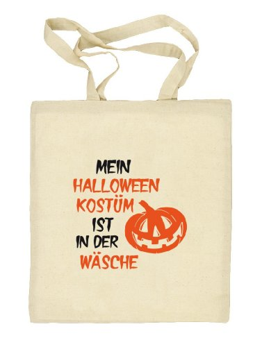 Shirtstreet24, Halloween - Mein Halloween Kostüm..., Kürbis Stoffbeutel Jute Tasche Natur
