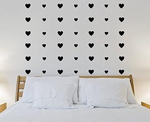 Decoramo Wall Stickers Hearts Decorative Wall Pattern, Pvc, Black, 60 cm X 0.1 cm X 60 cm