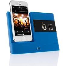 KitSound X-Dock 2 - Altavoz con puerto dock para Apple iPhone 5/5s/6s y iPod Nano/Touch (radio FM, reloj, pantalla LCD, conector Lightning), color azul