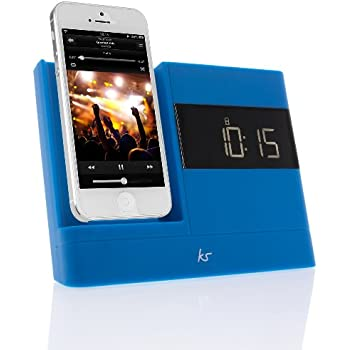 KitSound X-Dock2 LCD Display Clock Radio Dock with Lightning Connector for iPhone 5/5S/6/6S, iPod Nano 7th Generation and iPod Touch 5th Generation - Blue