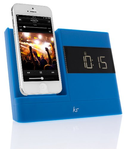 KitSound XDOCK2 Radio Uhr Dockingstation/Ladegerät mit Lightning Anschluss für iPhone 5/5S/5C/SE, iPod Nano 7. Generation and iPod Touch 5. Generation (UK Netzstecker) - Blau Ipod Touch Docking