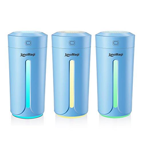 Luftbefeuchter Ultraschall 230ml Befeuchter bis zu 15-25㎡ für Wohn- und Schlafzimmer gegen Trocknung wegen der Heizung, Warm und Kalt Dampf Luftfilter mit LED-Display, Nachtmodus - InnoMagi (Blau) (Aromatherapie Kalt-warm)