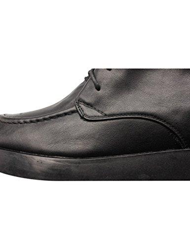 Youlee Damen Winter Versteckte Ferse Schuhe Leder Schnüren Martin Stiefel Schwarz Velvet