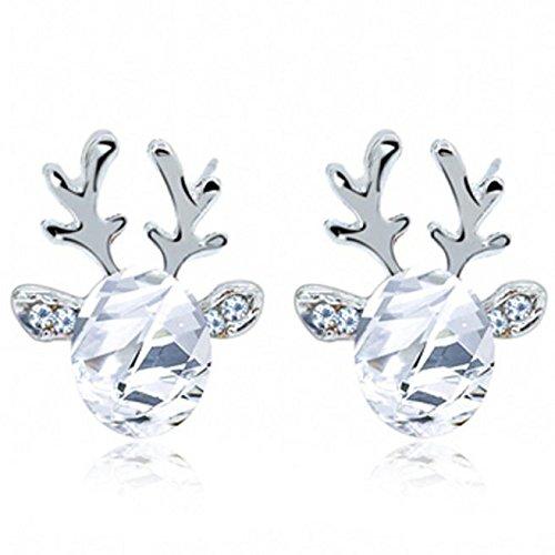 STYLEEA Damen Kristall Edelstein Ohrringe dreidimensional Weihnachtsren Earing fur Frauen Weihanchten -