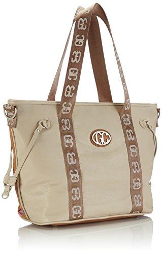 Poodlebag German Couture-bicolor 3GC0115CITOTS Damen Schultertaschen 43x13x30 cm (B x H x T) Mehrfarbig (cognac/sand)