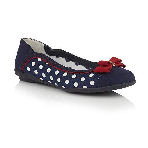 zie Navy Spots 1950'S Ballerina Pumps VEGAN Shoes 09294-UK 8 (EU 41) ()