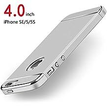 Funda iPhone SE, PRO-ELEC Carcasa iPhone SE 5S 5 con [ Protector de Pantalla de Cristal Templado Completo ] 3 en 1 Desmontable Ultra-Delgado Anti-Arañazos Funda para iPhone SE/5/5s Carcasa para iPhone SE/5s/5 - 4.0 pulgada - Plata