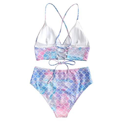 Damen Bandage Bikini Set Push Up Trägerlos Bandage Rückenfrei Meerjungfrau Maßstab Drucken Bandeau BH und Hoch taillierte Bikinihose Bademode Beachwear Badeanzug Swimwear TWBB -