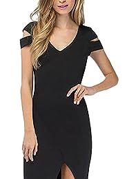 BoBoLily Frauen Bleistiftkleid Kleider Elegant Kurz Kurzarm Cut Out  V-Ausschnitt Eng Normallacks Stretch Geöffnete ef6f2f2355