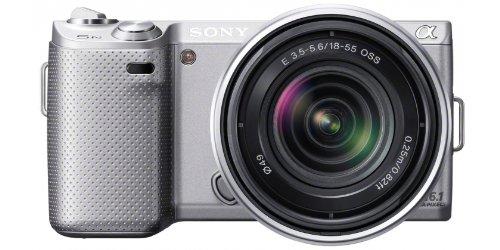 Sony NEX-5NKS Systemkamera (16,1 Megapixel, 7,5 cm (3 Zoll) Display, Live View) inkl. 18-55mm Objektiv, silber 16,1 Mp Cmos-sensor