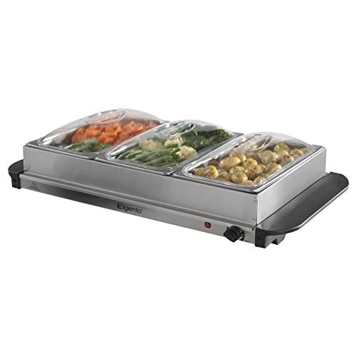 41rP%2BHM2zLL. SS500  - Elgento Three Tray Buffet Server and Plate Warmer with Keep Warm Function, Adjustable Temperature Setting, 3 x 1.2 Litre Non-Stick Removable Trays, 200 W, Stainless Steel