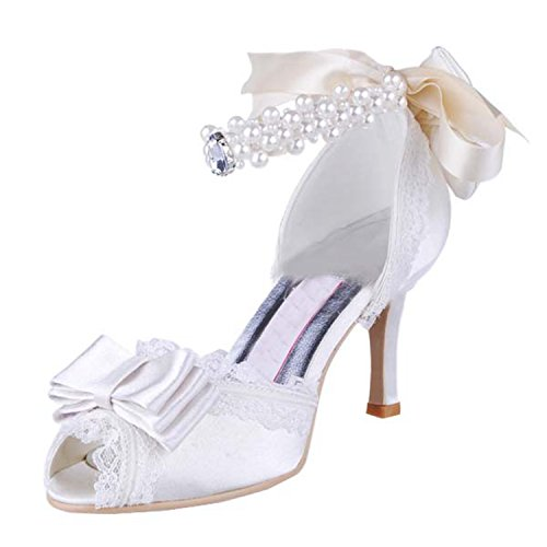 Kevin Fashion Ladies Peep Toe Stiletto talón para novia boda satén zapatos sandalias, color blanco, talla 38