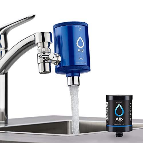 Alb Filter® Duo Active Trinkwasserfilter | Armatur Anschluss | Filtert Schadstoffe, Chlor, Blei, Pestizide, Mikroplastik | Set mit Gehäuse und Kartusche | Made in Germany Blau