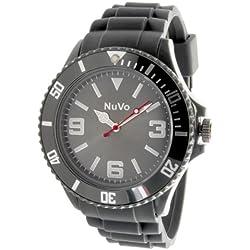 Nuvo - NU13H06 - Unisex Armbanduhr - Quartz - Analog - Graues Zifferblatt - Graues Armband aus Silikon - Modisch - Elegant - Stylish