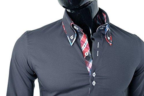 D&R Fashion Chemise élégante avec col classique slim Italian Design diverses couleurs Gris