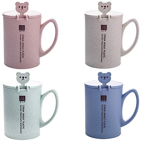 TOOGOO 450Ml Weizen Stroh Becher Kunst Stoff Kaffee Tasse Tee Tasse Mit L?ffel Deckel Griff Sü?er B?r Becher Milch Glas Runde Wasser Tasse Kaffee Tasse