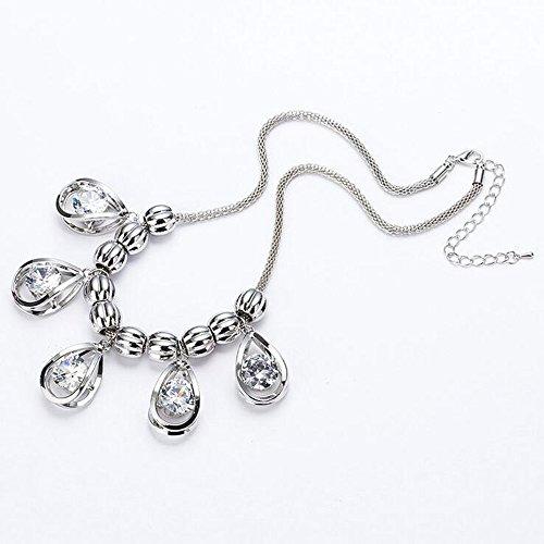 ZZCLSHIPIN Schmuck-Set, Kristall Zirkon Anhänger Schlüsselbein Kette Halskette, Pullover Zubehör Artikel,Silver -