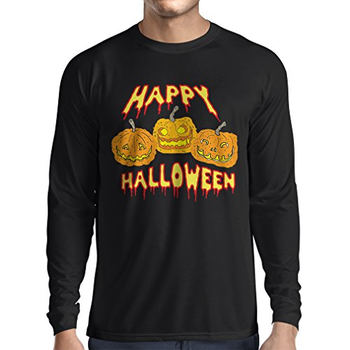 Langarm Herren t Shirts Happy Halloween! Party Outfits& Costume - Gift Idea (Small Schwarz Mehrfarben)