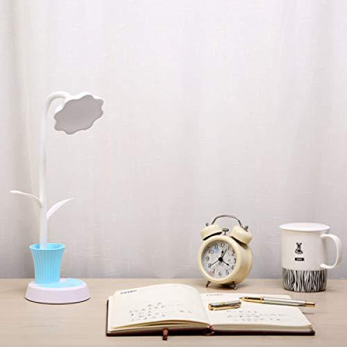 Sun Flower Stifthalter Schreibtischlampe Kreative Led Lade Augenschutz Lernen Schreibtischlampe Usb Lade Student Leselampe Hellblau 25 * 22 *   14 Cm -