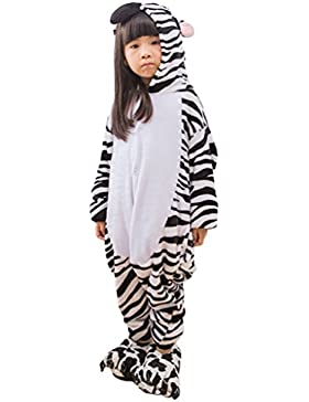 MissFox Kigurumi Pijamas Unisexo Niños Traje Disfraz Niños Animal Pyjamas Cebra
