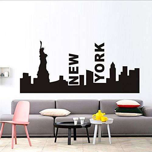 New York City silhouette Freiheitsstatue wandaufkleber abnehmbare moderne stadt bild design wandbild schlafzimmer lounge wandkunst aufkleber 96X42 CM (Party-stadt York New City)
