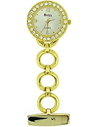 Boxx Glamour Gold Tone Round Open Link Professional Fob Watch F041G