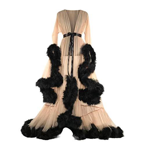 nges Kleid, Chiffon Perspektive Langes Schleppendes Kleid Feder Glocke Ärmel Flare Kleid mit Gürtel Fotografie Kleidung 4 Farben Beige, Rosa, Purpur, Grün ()