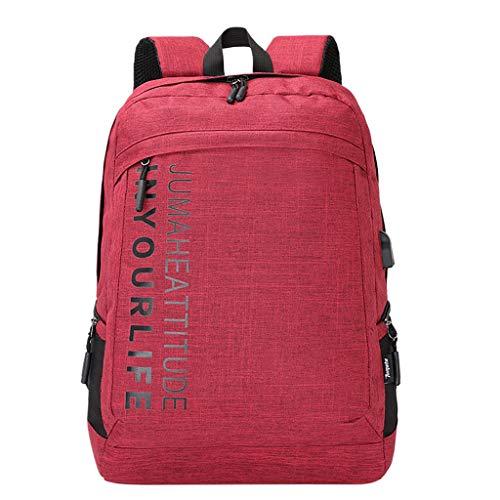 XNBZW Laptop-Rucksack, Damen & Herren Wanderrucksack, Studententasche Schulrucksäcke Leichtgewichtiger Freizeit-Rucksack, Stilvolle Schultasche mit USB-Ladebuchse(Wein,31 * 45 * 15 cm) - Under Armour Damen Frühling