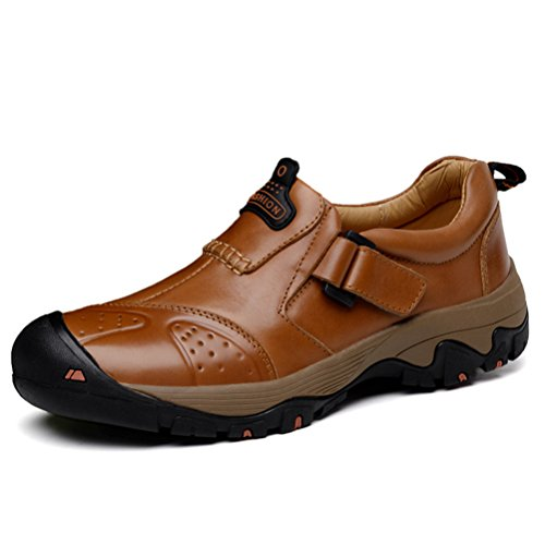 ailishabroy Herren Draussen Beiläufig Turnschuhe Männer Leder Niedrige Oberseite Schuhe (43 EU, Dunkelbraun)