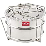 Raffles Premium SS Cooker Separator P4 Suitable For 5 Litres Pigeon Inner Lid Pressure Cookers (2 Containers With Lifter, Stainless Steel)